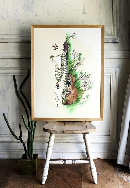 Human anatomy guitar office art occupational therapist gift idea