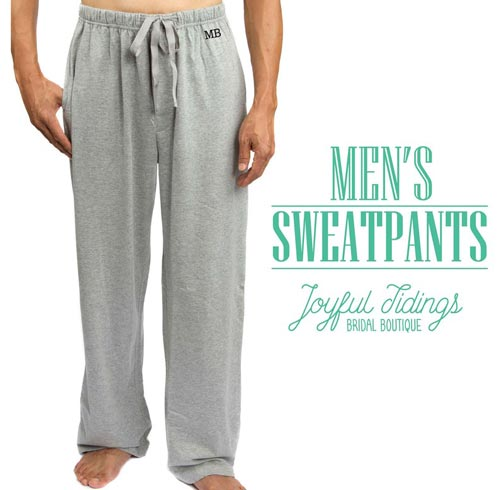 Monogrammed sweatpants for men gift idea