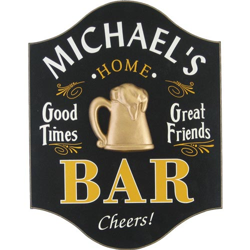 Personalized home bar sign men's gift