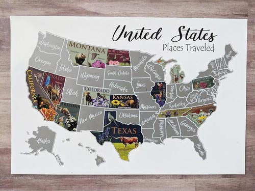 Scratch map of the USA gift idea for men