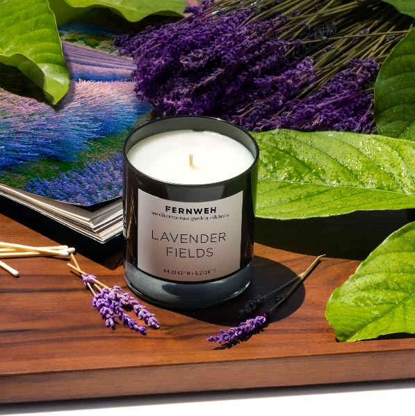 Fernweh candle in lavender fields