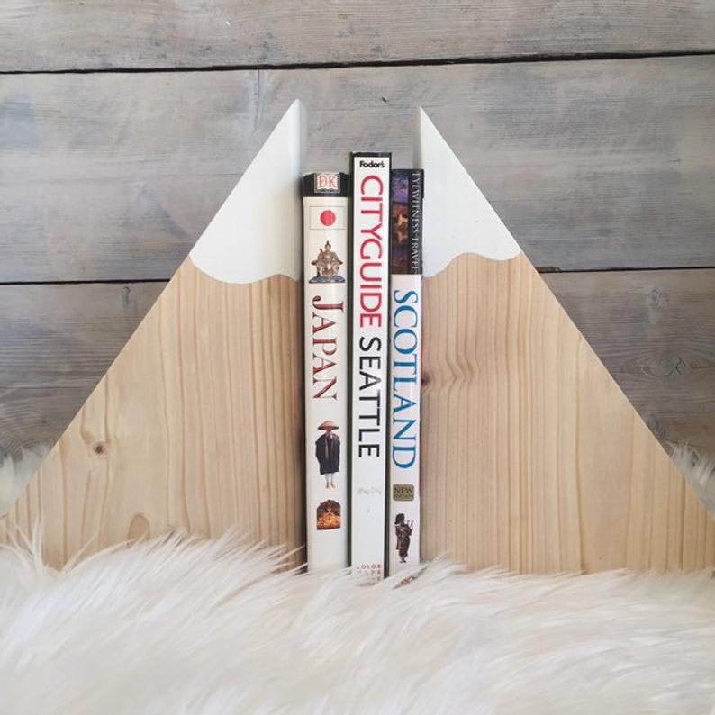 Wood mountain bookends