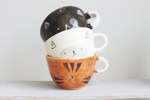 Handcrafted ceramic kitty mug