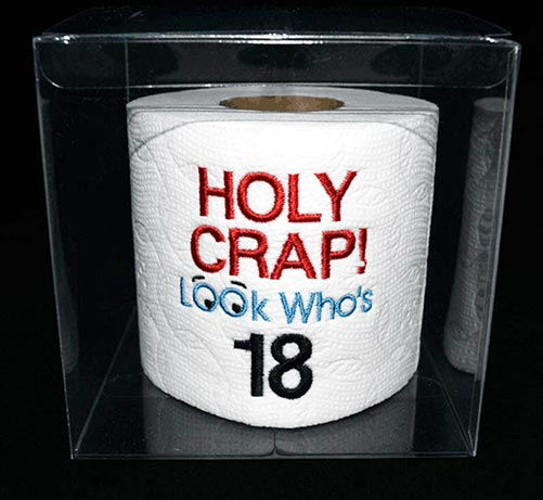 Funny roll of toilet paper for boy's 18th birthday