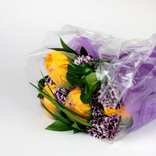 Flowers wrapped individually to protect the blooms