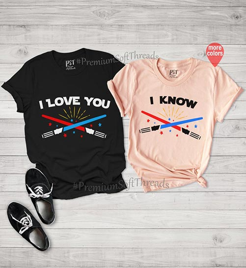 """I love you"" - ""I know"" matching t-shirts"