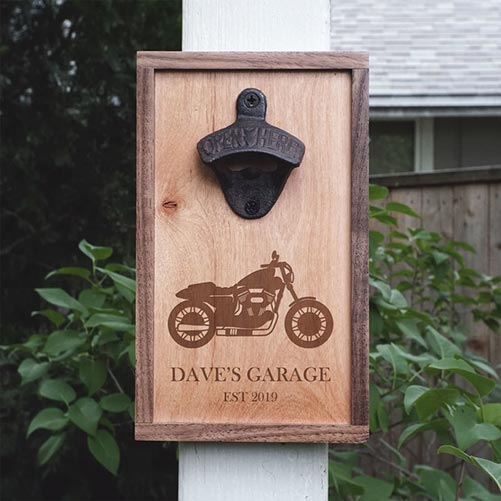 Wood bottle opener with custom laser engraving