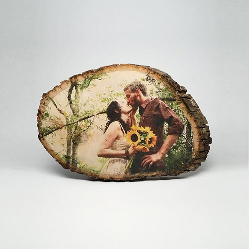 Photo printed onto round bass wood