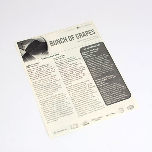 Newsletter that describes the wines