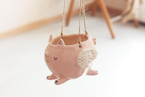 ceramic pig planter with wings