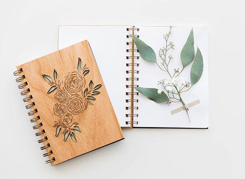 Feminine Journal featuring floral laser-engraving
