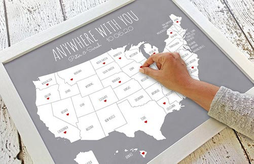 Travel map with heart stickers
