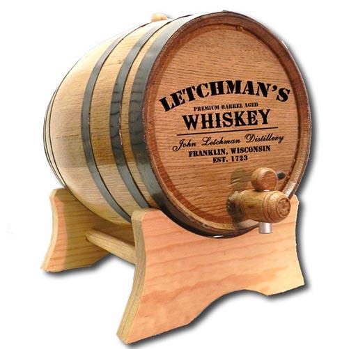 Solid oak wood whiskey barrel