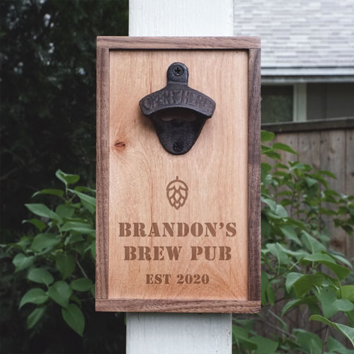 Walnut and maple wood bottle opener