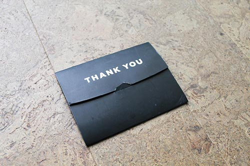 Thank you card inside my Groovebags delivery