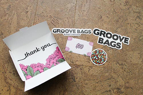The inner contents of my Groovebags thank you card