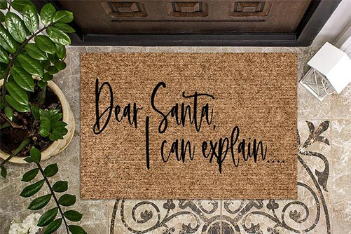 Door welcome mat for Santa