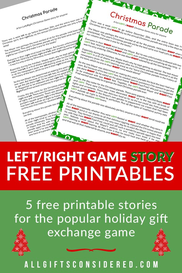Right Left Game Printables