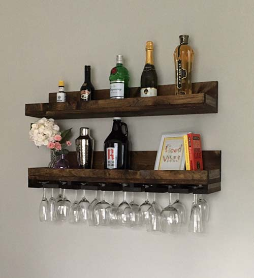 Wooden Wine Bottle and Glass Rack - Christmas Gift Ideas