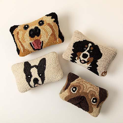 Hook Sewn Dog Face Pillows