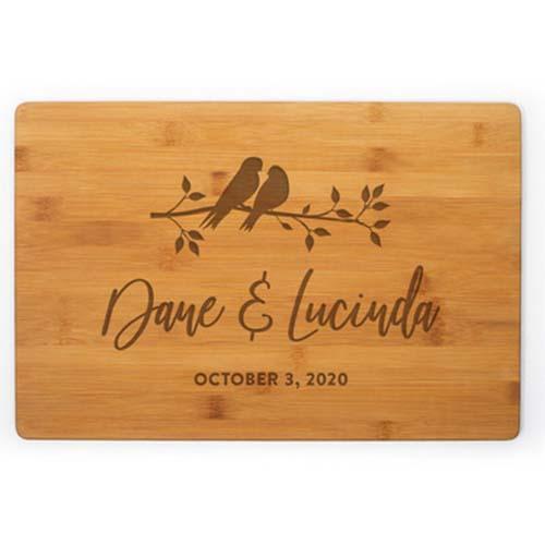 Engraved Lovebirds Cutting Board