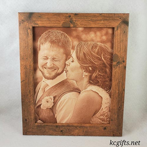 Engraved Leather Photo