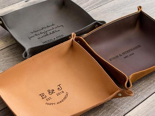 Personalized Leather Tray