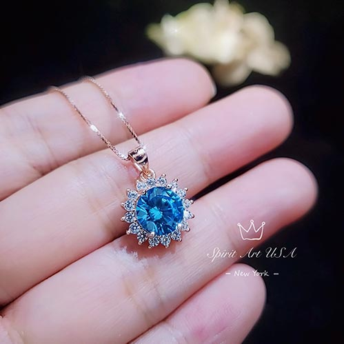 Blue Topaz Necklace for Her