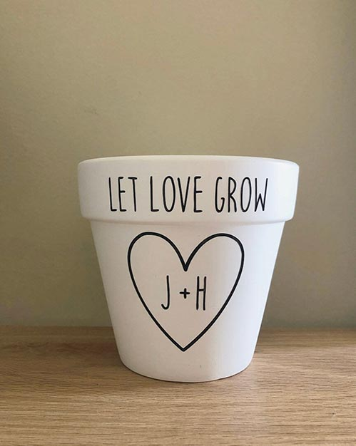 4th Anniversary Gifts- Personalized Flower Pot