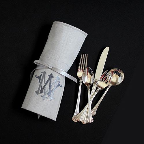 Monogrammed Linen Flatware Roll