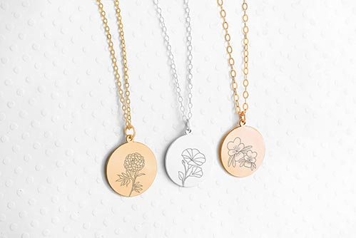Birth Flower Necklace- 70th Birthday Gift Ideas