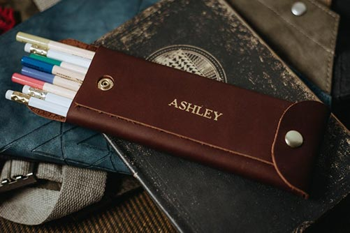 Unique Modern Anniversary Gifts: Engraved Leather Pencil Case