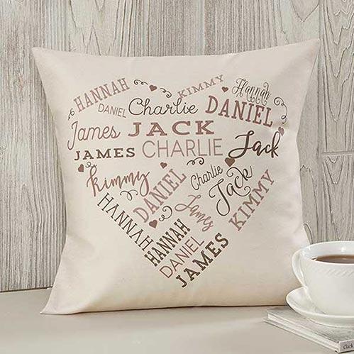 Custom Heart Family Pillow