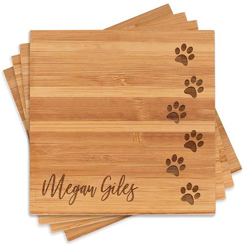 Puppy Paws Engraved Coasters