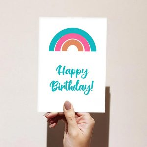Blue to Orange Happy Birthday Card