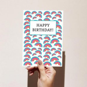 Blue Pink Rainbow Pattern Happy Birthday Card