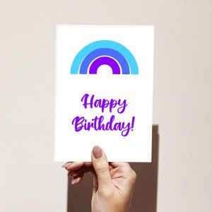 Blue Rainbow Happy Birthday Card