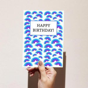 Blue Rainbow Pattern Happy Birthday Card