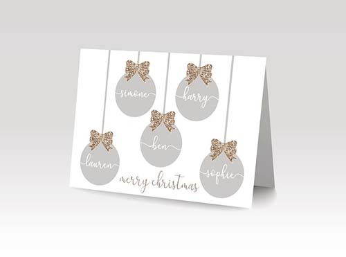 Personalized Bauble Family name Christmas Card