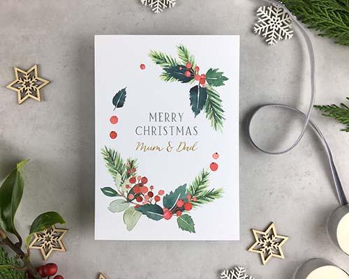 Custom Christmas Cards: Berries Foliage