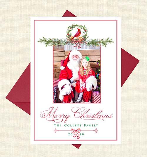 Personalized Cardinal Christmas Card