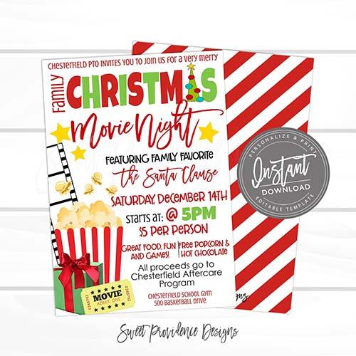 Christmas Movie Night Card Invites