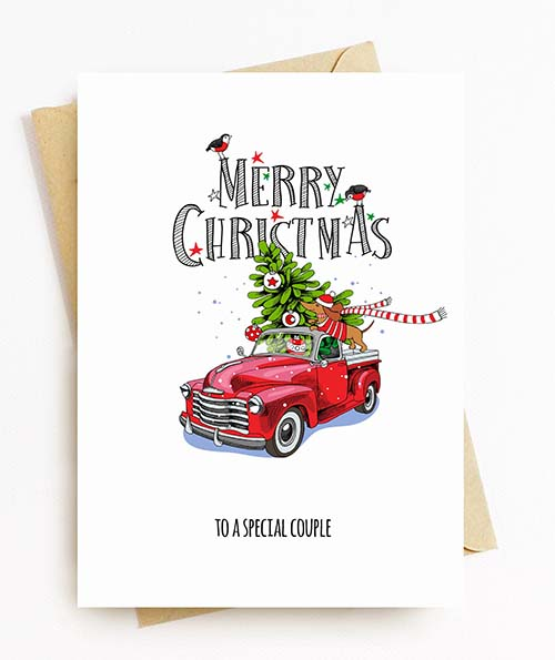 Classic Christmas Cards: Truck and Christmas Tree
