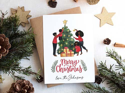 Photo Illustrated Custom Christmas Card