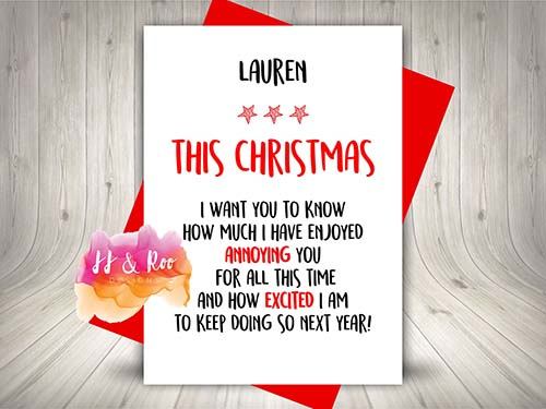 Excited to Annoy You - Personalized Downloadable Christmas Card
