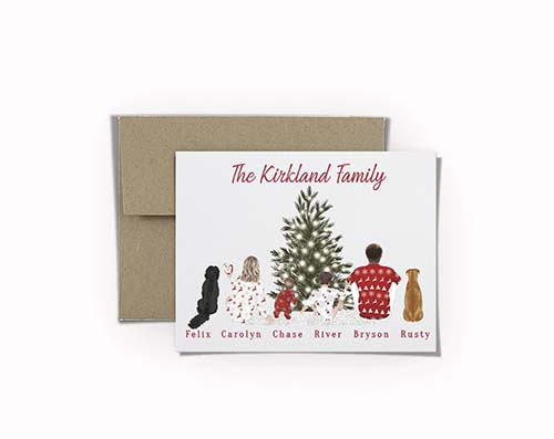 Custom Illustrated Family and Pet Portrait Holiday Greeting Card
