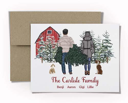 Christmas Card with Family Portrait - Tree Farm