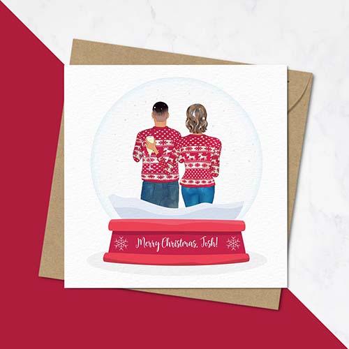 Family Portrait Christmas Card - Snow Globe