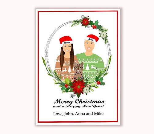 Floral Framed Christmas Cards