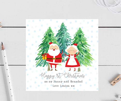 1st Christmas for Nanny and Grandad - Personalized Holiday Card